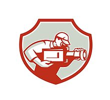 Cameraman Film Crew Camera Shield Retro by patrimonio