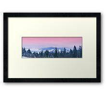 Mountain panorama. Winter. Pink sunset Framed Print