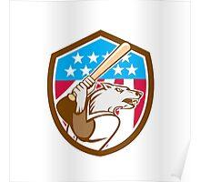Wolf Baseball With Bat USA Stars Shield Retro Poster