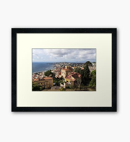 Naples Italy Aerial Perspective - Chiaia and Mergellina Seafront Neighborhoods Framed Print