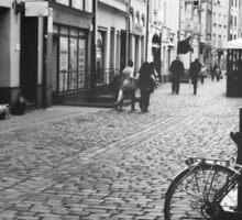 Black and white vintage photo of a city. Torun, Poland, Europe Sticker
