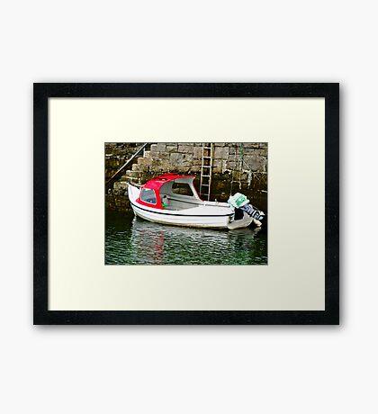 Red and white boat, Milk Harbour, Mullagmore, Donegal Framed Print
