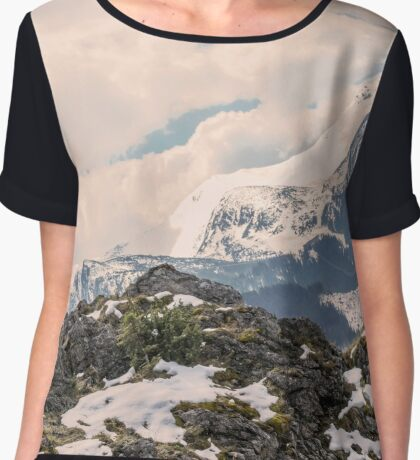 Mountains landscape in the summer. Soft hipster colors Chiffon Top
