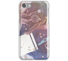 Old vintage camera and blank diary on the wooden background. Photography love iPhone Case/Skin
