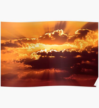 Outstanding sunset with beautiful sunbeams. Red sunset behind the clouds Poster