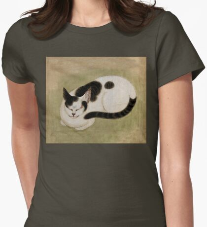 Vintage art, sleeping bicolor cat Womens Fitted T-Shirt