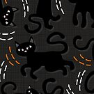 black cats on dark background by demonique