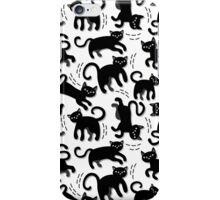 black cats messy pattern on white iPhone Case/Skin