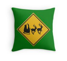US Warning sign Christmas ahead Throw Pillow