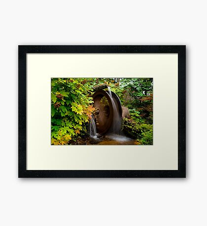 Fall colors on Great Smoky Mountain National Park Mill wheel Framed Print
