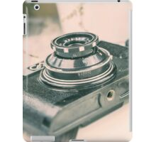 Old vintage camera on the wooden background. Retro photography iPad Case/Skin