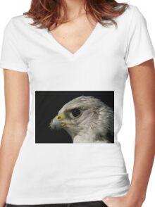 Close-up of gyrfalcon head against black background Women's Fitted V-Neck T-Shirt