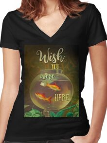 Wish You Were Here Pink Floyd Epic Rock And Roll Lyrics Inspired Retro Design Women's Fitted V-Neck T-Shirt