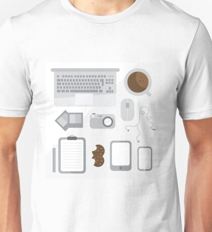 Geek illustration. Things left on the desk in order: coffee, laptop, tablet, smartphone, camera, mouse, headphones, cookies, notepad, pencil and photos. Gray colors Unisex T-Shirt