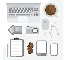 Geek illustration. Things left on the desk in order: coffee, laptop, tablet, smartphone, camera, mouse, headphones, cookies, notepad, pencil and photos. Gray colors Photographic Print