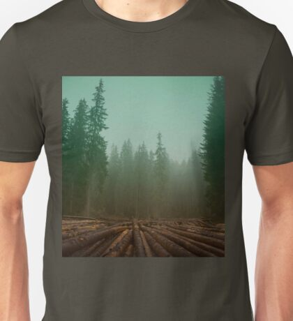 Dark, hipster coniferous forest in the mist. Big wood logs Unisex T-Shirt