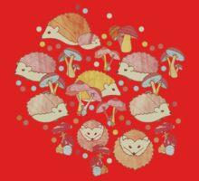 Woodland Hedgehogs - a pattern in soft neutrals  One Piece - Short Sleeve