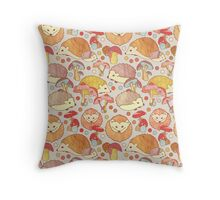 Woodland Hedgehogs - a pattern in soft neutrals  Throw Pillow