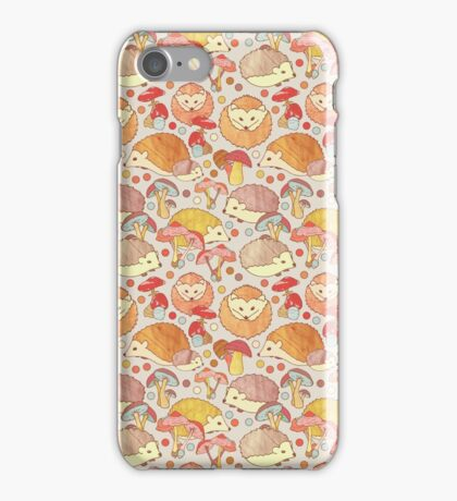 Woodland Hedgehogs - a pattern in soft neutrals  iPhone Case/Skin