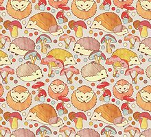 Woodland Hedgehogs - a pattern in soft neutrals  by Perrin Le Feuvre