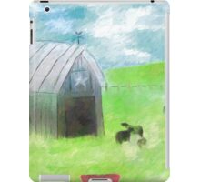 Impressionist Gray Barn and Cows iPad Case/Skin