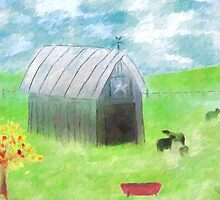 Impressionist Gray Barn and Cows by Sarah Countiss