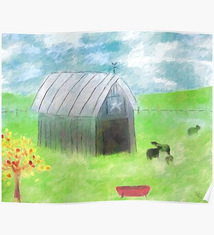 Impressionist Gray Barn and Cows Poster