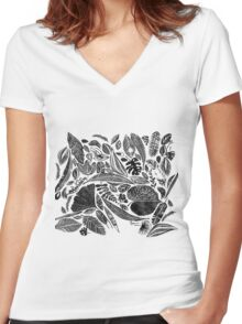 Mixed leaves, Lino cut printed nature inspired hand printed pattern Women's Fitted V-Neck T-Shirt