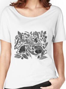 Mixed leaves, Lino cut printed nature inspired hand printed pattern Women's Relaxed Fit T-Shirt