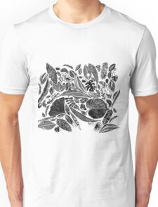 Mixed leaves, Lino cut printed nature inspired hand printed pattern Unisex T-Shirt