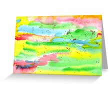 Watercolor Hand-Painted Abstract Red Yellow Green Blue Greeting Card