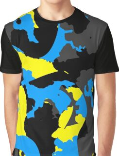 Blue yellow black and gray abstract Graphic T-Shirt