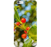 Holly, berries & bokeh iPhone Case/Skin