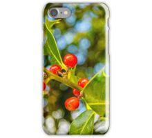 Holly, berries & bokeh iPhone Case/Skin
