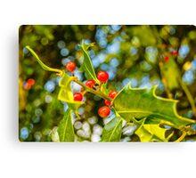 Holly, berries & bokeh Canvas Print