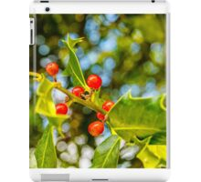 Holly, berries & bokeh iPad Case/Skin
