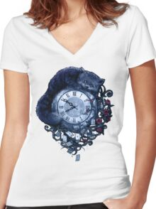Time in Wonderland Women's Fitted V-Neck T-Shirt