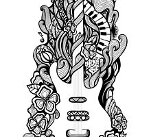 Doodle floral guitar by Eugenia Hauss