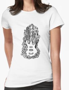 Doodle floral guitar Womens Fitted T-Shirt