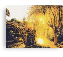 summer light in the garden with tree and wooden bridge Canvas Print