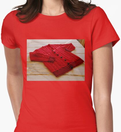 Crimson Cable Cardigan Womens Fitted T-Shirt