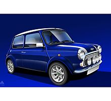 Classic Mini Cooper Poster Illustration by RJWautographics