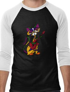 Funny Funky Colorful Cool Cat Playing Electric Guitar Men's Baseball ¾ T-Shirt