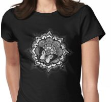 Butterfly on Mandala Womens Fitted T-Shirt