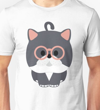 Exotic Cat Emoji Nerdy and Noob Spectacles Face Unisex T-Shirt