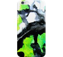 Fearless Abstract Art in black white and green iPhone Case/Skin