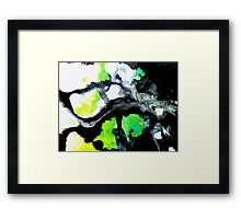 Fearless Abstract Art in black white and green Framed Print