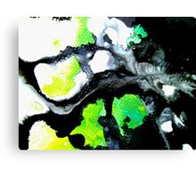 Fearless Abstract Art in black white and green Canvas Print