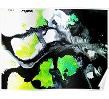 Fearless Abstract Art in black white and green Poster