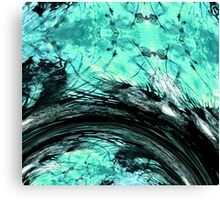 Adaptable Abstract Art Aqua Blue and Black Canvas Print